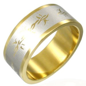 316L Gold Plated Stainless Steel Celtic Rope Flat Band Ring