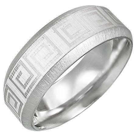 316 Stainless Steel Greek Key Satin Finished Beveled Edge Ring