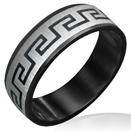 316 Stainless Steel 2-Tone Greek Key Satin Finish Beveled Edge Ring