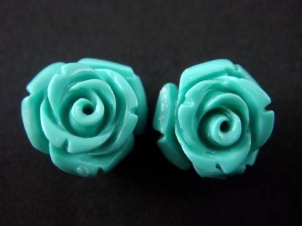 925 Sterling Silver Stud Flower Coral Blue Rose Lovely Earrings Set
