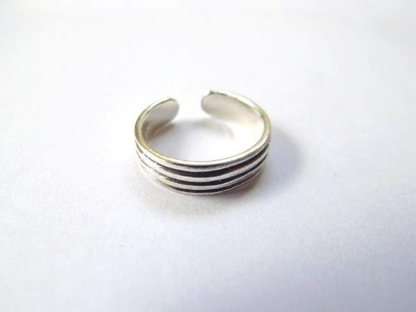 925 Sterling Silver Four Classic Bands Adjustable Toe Ring