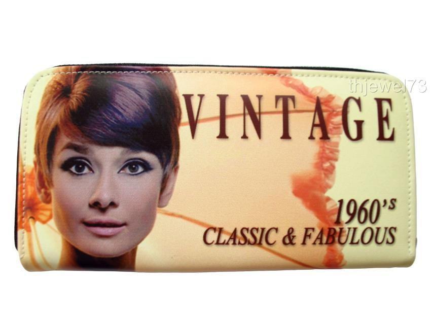 Audrey Hepburn Vintage Retro Credit Card Money ID Holder Wallet Purse Bag