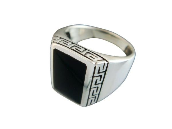 925 Sterling Silver Men's Rectangle Onyx Greek Key Meander Meandros Ring