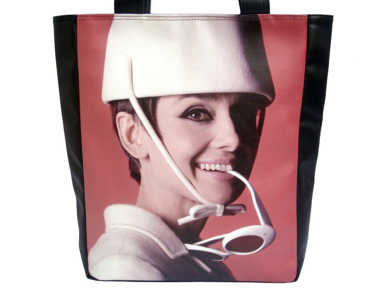 Audrey Hepburn White Hat Glasses Large Tote Shoulder Bag Purse