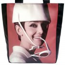 Audrey Hepburn White Hat Glasses Large Tote Shoulder Bag Purse