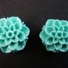 925 Sterling Silver Flower Carved Coral Blue Stud Earrings Set
