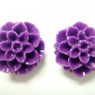 925 Sterling Silver Flower Carved Coral Purple Stud Earrings Set