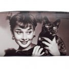 Audrey Hepburn Holding Black Cat Credit Card Money Case Wallet Purse