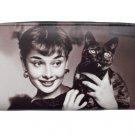 Audrey Hepburn Holding Black Cat Credit Card Money Case Wallet Purse