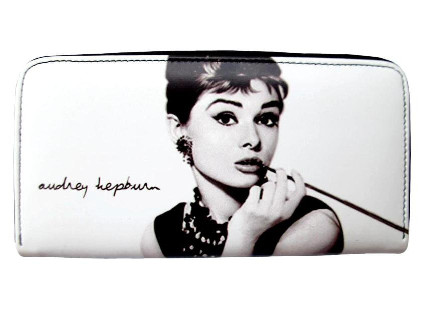 Audrey Hepburn Signature Breakfast at Tiffanys White Wallet Card ID Holder Purse