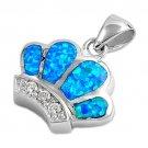 925 Sterling Silver Queen Crown Hawaiian Blue Opal CZ Charm Pendant