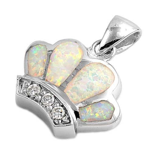 925 Sterling Silver Queen Crown White Opal CZ Charm Pendant