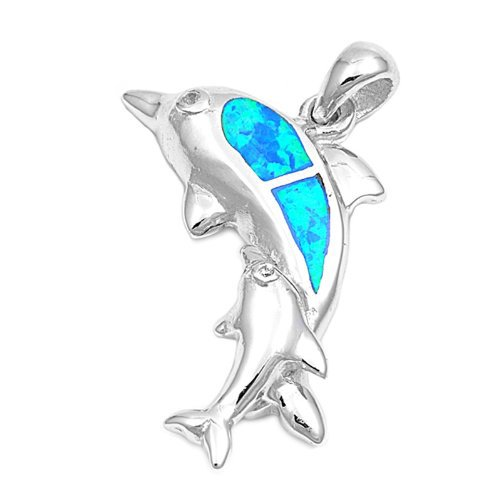 925 Sterling Silver Hawaiian Blue Opal Playing Dolphins Pendant