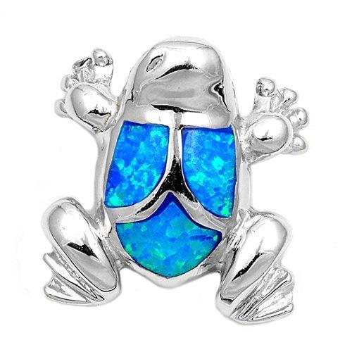 925 Sterling Silver Hawaiian Blue Opal Frog Charm Pendant