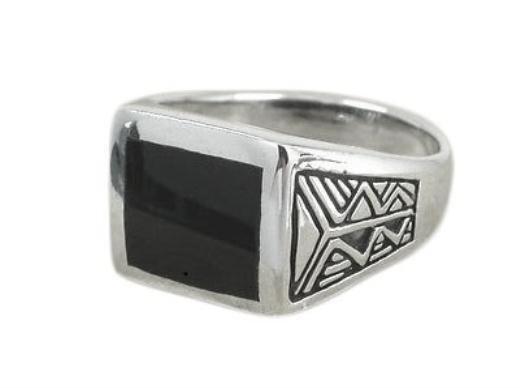 925 Sterling Silver Men's Aztec Style Rectangular Black Genuine Onyx Ring