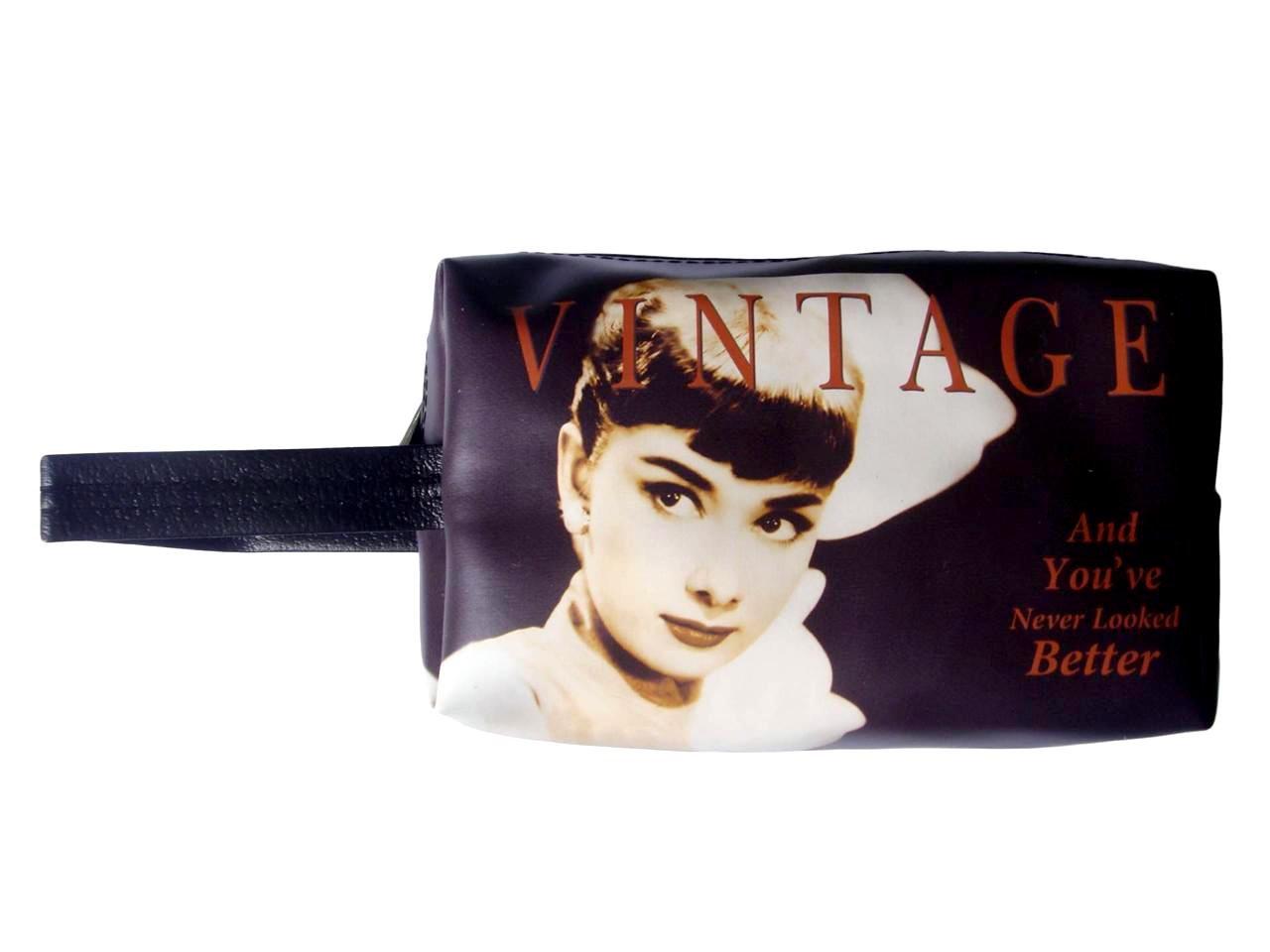 Audrey Hepburn Vintage Retro Make Up Lipstick Purse Cosmetic Zip Around Bag