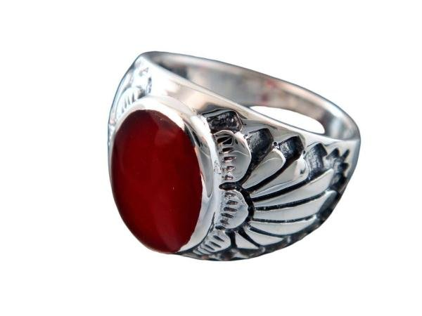 925 Sterling Silver Mens Genuine Carnelian Inlay Indian Motif Thick Ring