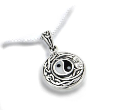 925 Sterling Silver Yin Ying Yang Tai Chi Celtic Knot Flowing Sun Face Charm Pendant