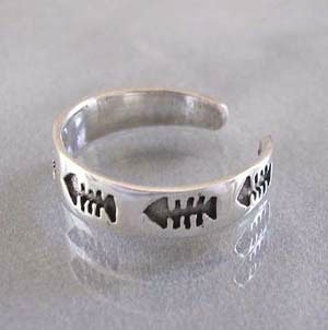 925 Sterling Silver Fish Bone Adjustable Pinky Toe Ring