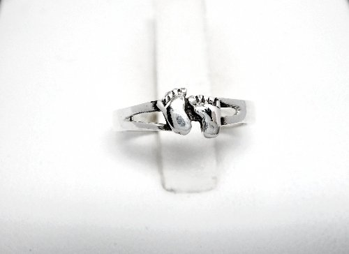 925 Sterling Silver Happy Feet Adjustable Pinky Toe Ring