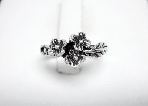 925 Sterling Silver Flowers Oxidized Adjustable Pinky Toe Ring