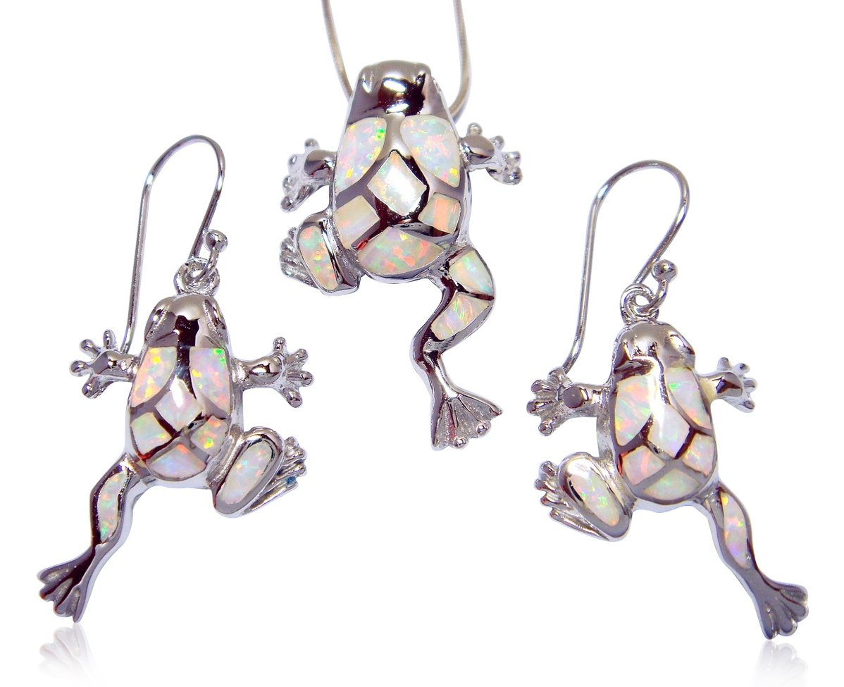 925 Sterling Silver Pendant Dangle Earrings Set White Opal Frog
