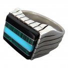 925 Sterling Silver Mens Stone Set Onyx Malachite Turquoise Thick Ring