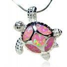 925 Sterling Silver Pink Inlay Opal Lovely Sea Turtle Charm Pendant