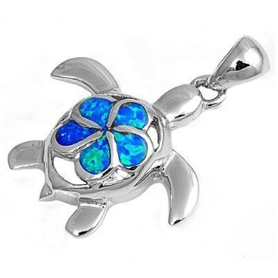 925 Sterling Silver Pendant Hawaiian Blue Opal Plumeria Sea Turtle Honu