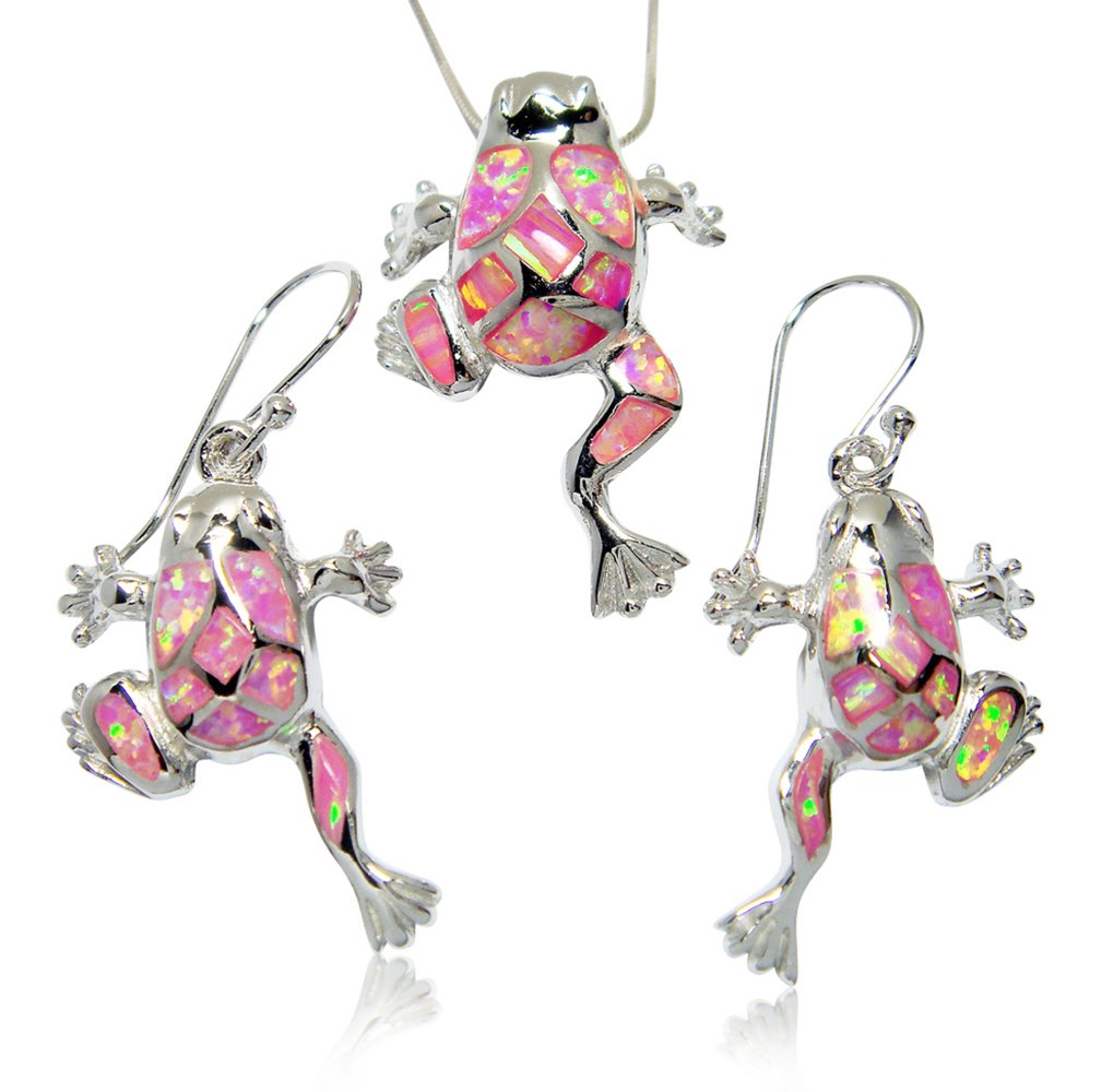 925 Sterling Silver Pink Mosaic Opal Lucky Frog Pendant Earrings Set