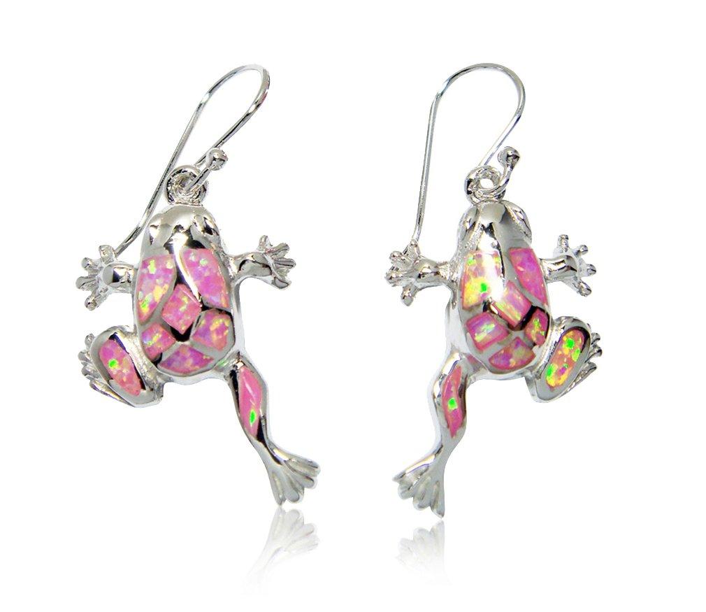 925 Sterling Silver Dangle Earrings Set Pink Fire Opal Frog