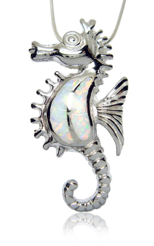 925 Sterling Silver White Opal Seahorse Sea Pendant