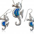 925 Sterling Silver Blue Opal Seahorse Pendant Earrings Set