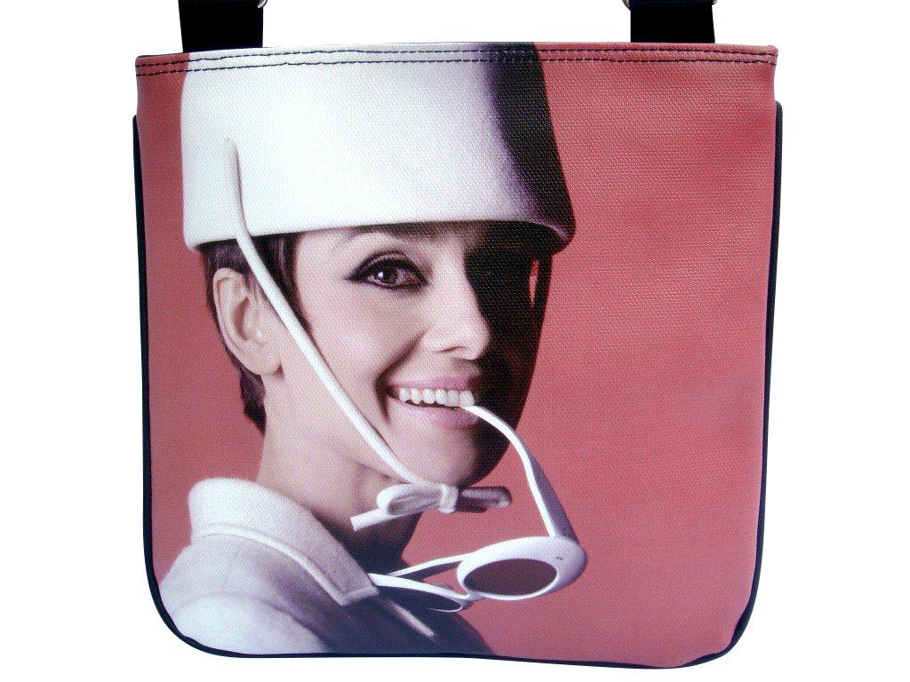 Audrey Hepburn White Hat Glasses Sling Messenger Red Bag Purse