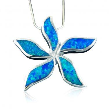 925 Sterling Silver Hawaiian Blue Opal Starfish Flower Pendant