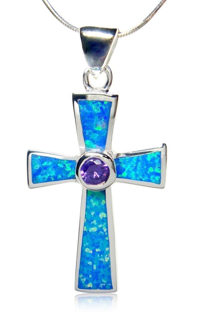 925 Sterling Silver Cross Pendant Hawaiian Blue Opal & CZ