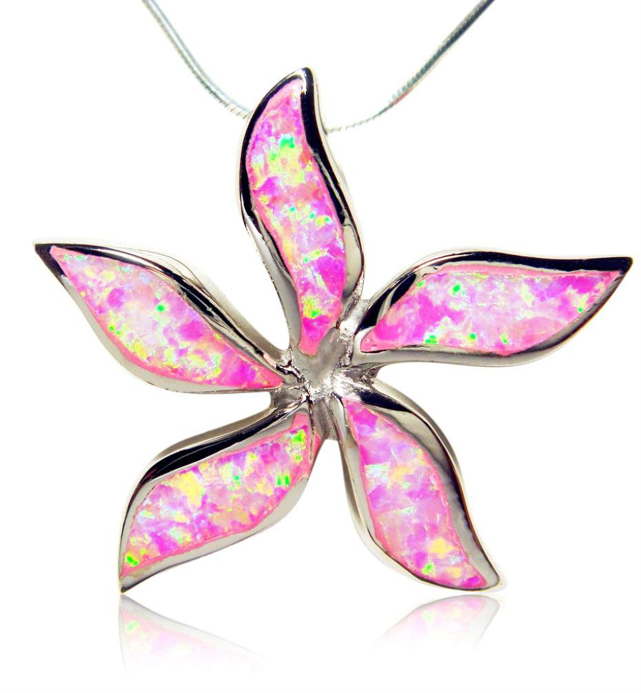 925 Sterling Silver Pink Fire Opal Starfish Flower Big Charm  Pendant