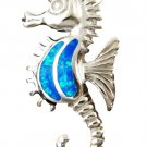925 Sterling Silver Pendant Hawaiian Blue Opal Seahorse Sea