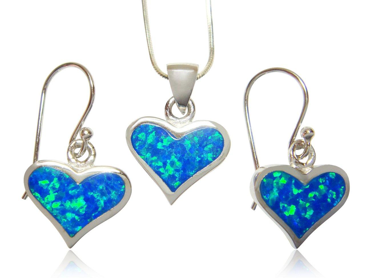 925 Sterling Silver Hawaiian Blue Opal Heart Love Pendant Earrings Set