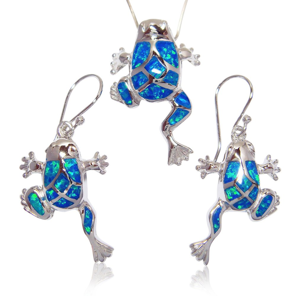 925 Sterling Silver Blue Mosaic Opal Lucky Frog Pendant Earrings Set