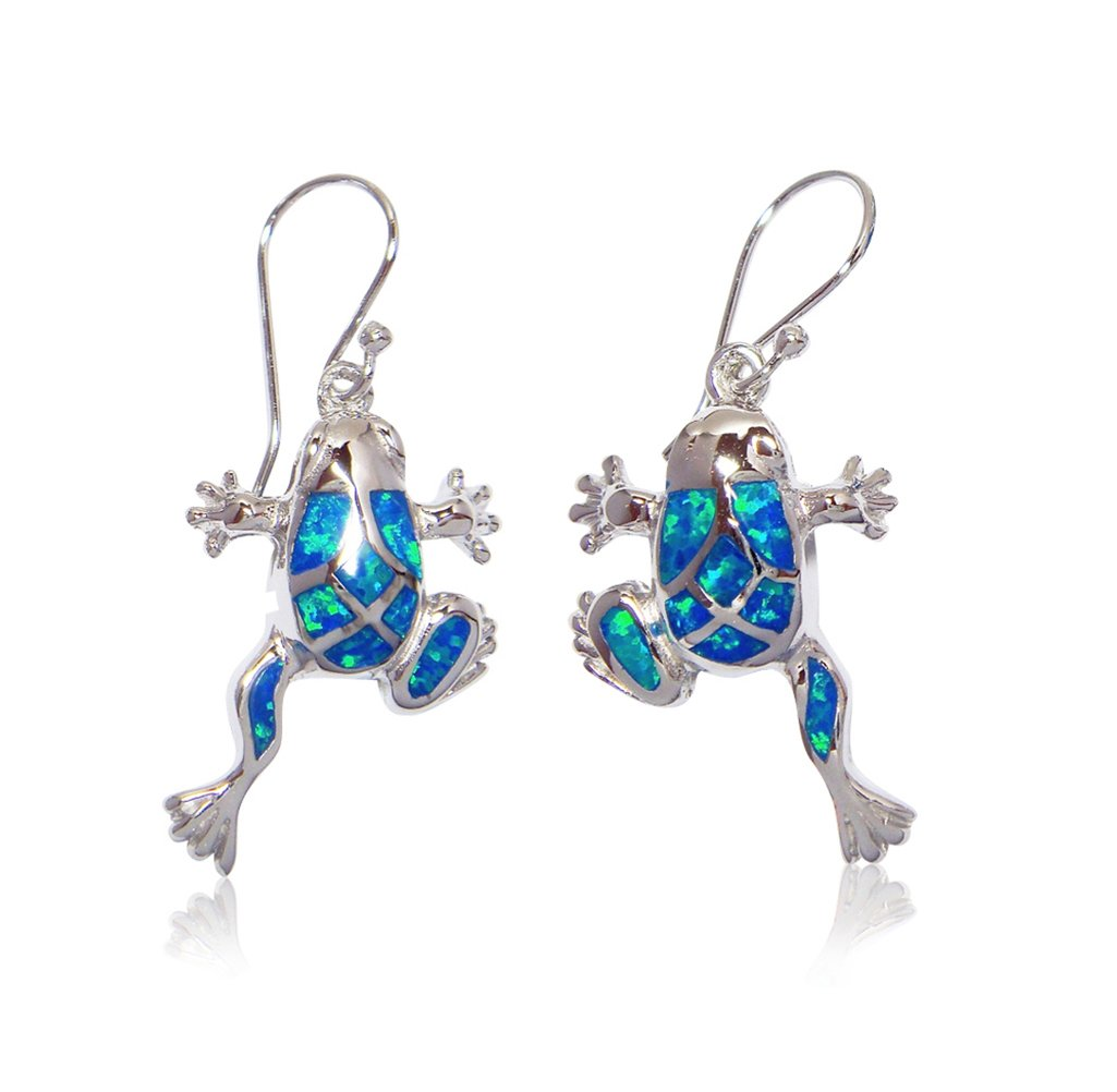 925 Sterling Silver Dangle Earrings Set Hawaiian Blue Opal Frog