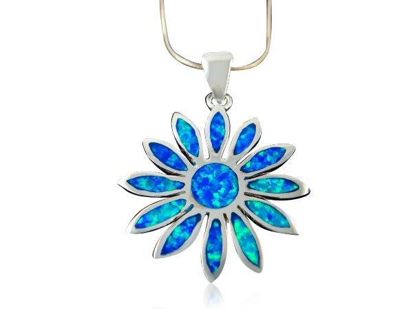 925 Sterling Silver Pendant Hawaiian Blue Opal Daisy Flower