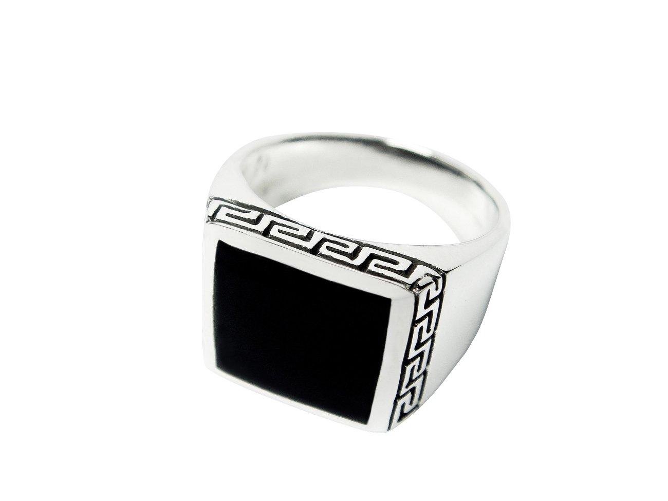 925 Sterling Silver Men's Square Onyx Greek Key Meander Ring