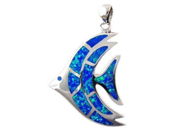 925 Sterling Silver Hawaiian Blue Fire Inlay Opal Fish Big Pendant 8gr