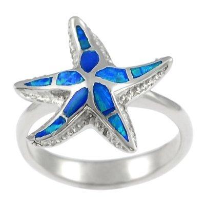925 Sterling Silver Ring Hawaiian Blue Inlay Opal 3D Sea Starfish