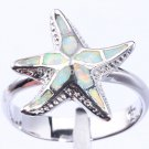 925 Sterling Silver White Fire Inlay Opal 3D Sea Starfish Ring