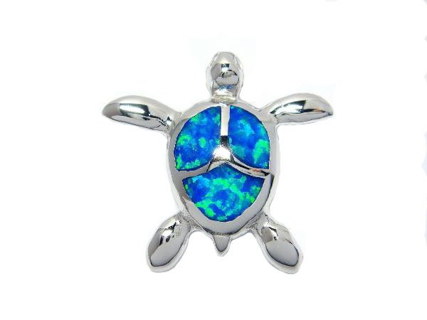 925 Sterling Silver Hawaii Blue Opal Sea Turtle Honu Charm Pendant