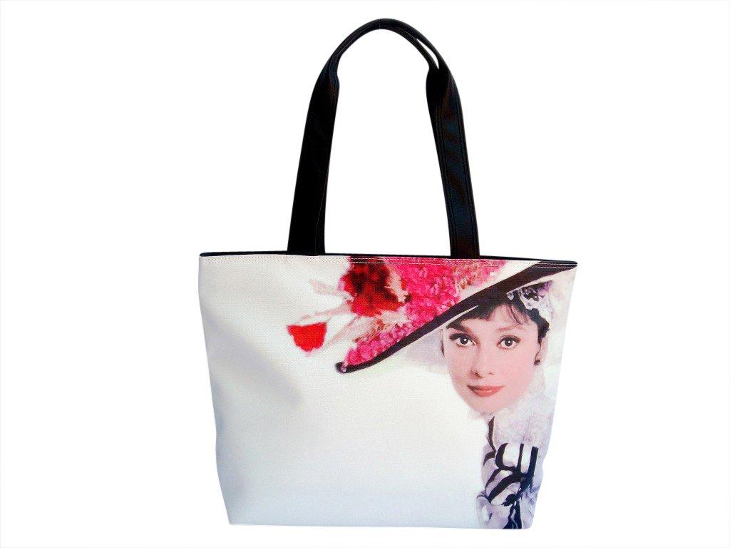 Audrey Hepburn Vintage Hat Retro Wide Tote Shoulder Bag Purse
