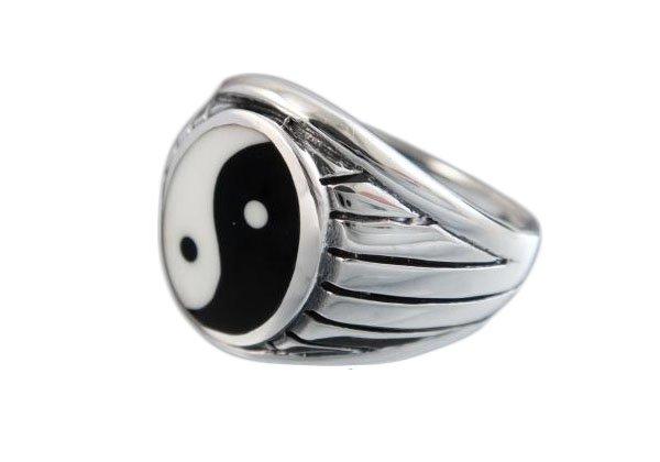 925 Sterling Silver Mens Ying Yin Yang Tai Chi Asia Engraved Sides Ring