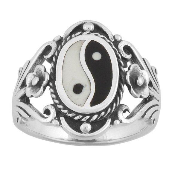 925 Sterling Silver Men's Chinese Ying Yin Yang Ring